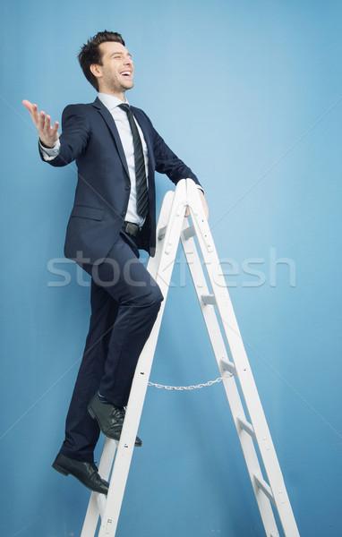 успешный менеджера Top триумф бизнесмен человека Сток-фото © konradbak