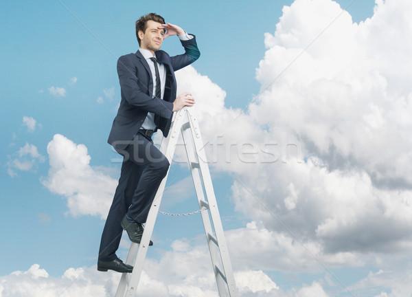 Succesful businessman on the top of the business Stock photo © konradbak