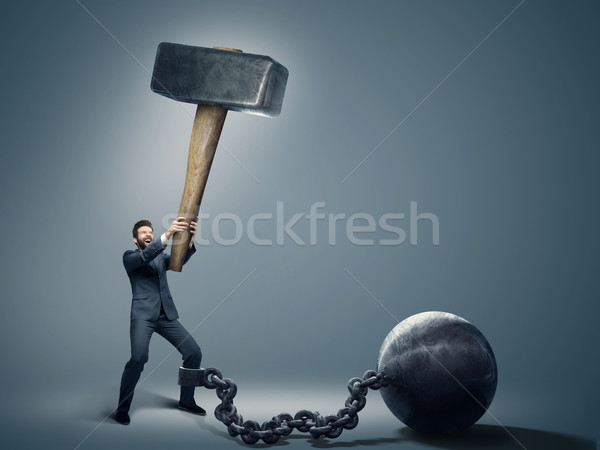 Stock photo: Conceptual photo of an employee trying to quit a job