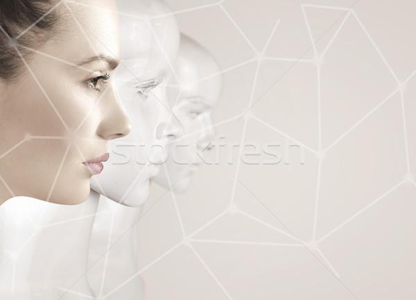 Kadın robotlar yapay zeka kız yüz moda Stok fotoğraf © konradbak