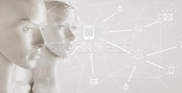 Yapay zeka diyagramları grafikler bilgisayar para Internet Stok fotoğraf © konradbak