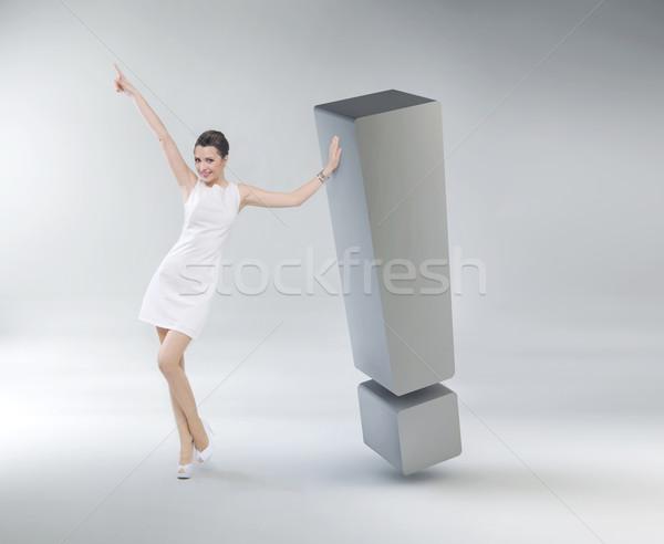 Mujer de negocios signo de admiración enorme mano pelo belleza Foto stock © konradbak