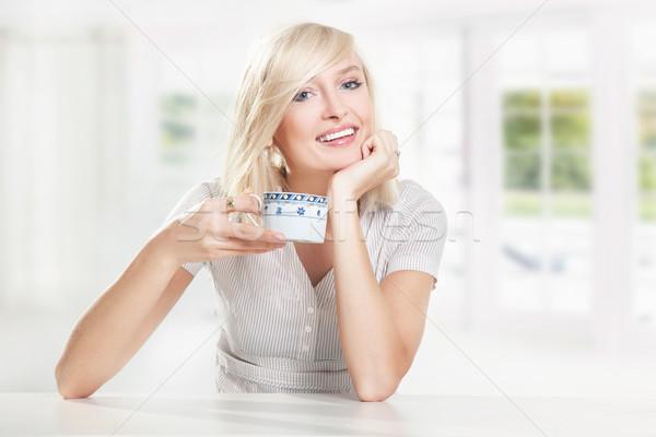 Foto stock: Feliz · potable · café · cara · trabajo