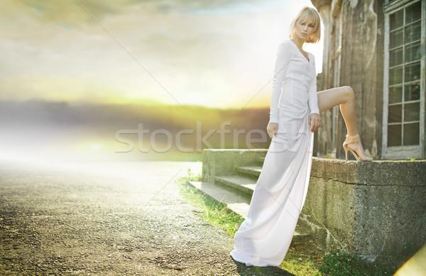 Angyal naplemente hölgy nő modell szépség Stock fotó © konradbak