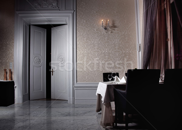 Classic white interior with open door Stock photo © konradbak