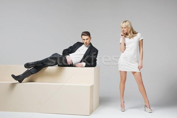 Fantástico mulher tentador mulher jovem negócio homem Foto stock © konradbak