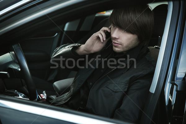 Zarif adam çalışma araba ofis çalışmak Stok fotoğraf © konradbak