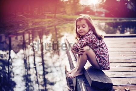 Romantischen Stil Porträt jungen Brünette Schönheit Stock foto © konradbak
