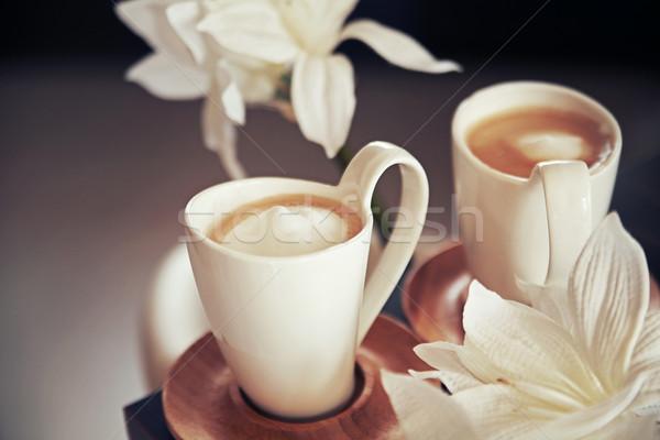 Stockfoto: Porselein · koffie · cafe · zwarte · leven