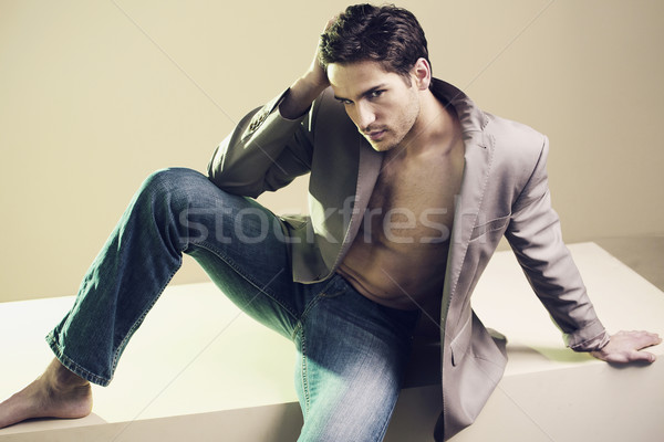 Handsome stylish guy with nice haircut Stock photo © konradbak