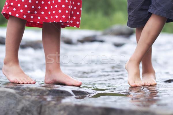 Children soaking feet in a brook Stock photo © konradbak