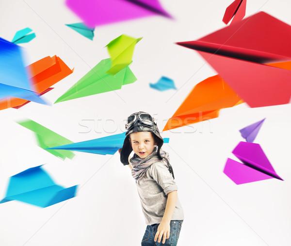 красочный портрет мало экспериментального ребенка бумаги Сток-фото © konradbak