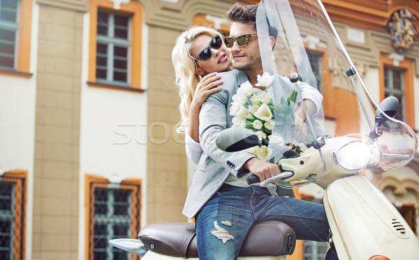 Vonzó pár retro moped motorbicikli nő Stock fotó © konradbak