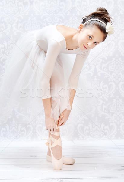 Cute little ballerina before performance Stock photo © konradbak