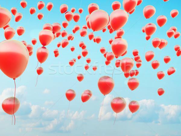 Hundreds of the red flying balloons Stock photo © konradbak