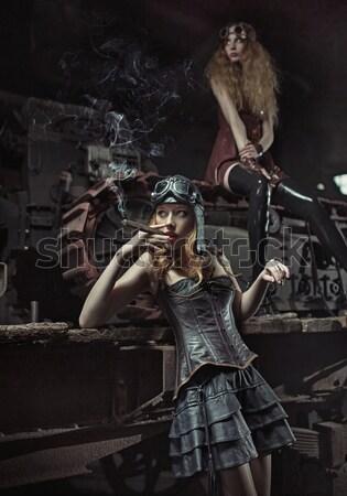 Bello soldato signora donna bionda donna Foto d'archivio © konradbak