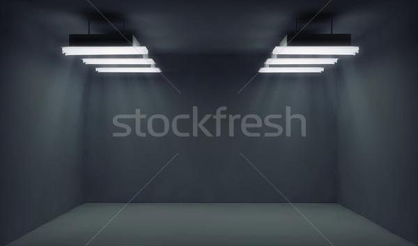 Empty dark room with lightrays Stock photo © konradbak