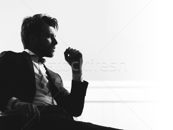 Portre akıllı yakışıklı adam yakışıklı işadamı işçi Stok fotoğraf © konradbak