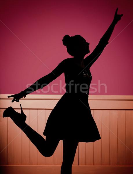 Heureux jeunes danseur piste de danse heureux femme Photo stock © konradbak
