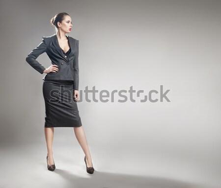 Lenyűgöző szőke nő visel fekete talár Stock fotó © konradbak