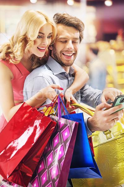 Insanlar alışveriş gençler kadın çift Stok fotoğraf © konradbak