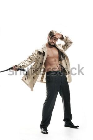 Schöner Mann stehen Mode Haar Hintergrund Männer Stock foto © konradbak