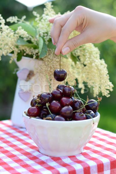 Bowl full of sweet cherries Stock photo © konradbak