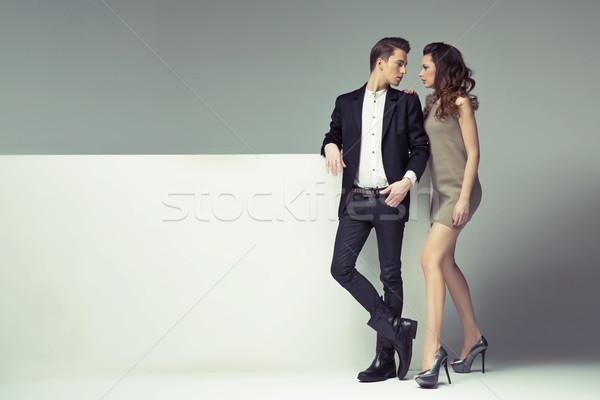 Fantastik çift bakıyor gözler gülümseme Stok fotoğraf © konradbak