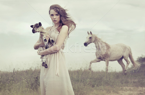 Young brunette lady holding little lamb Stock photo © konradbak