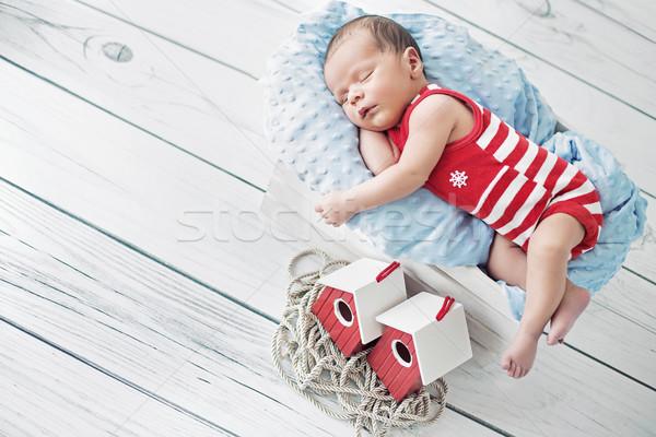 Portrait of a little sailor during the nap Stock photo © konradbak