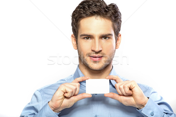 Blij knap vent gezichtshaar knappe man business Stockfoto © konradbak