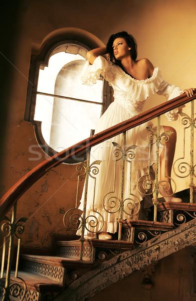 Delicate brunette beauty posing Stock photo © konradbak