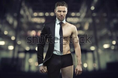 Gut aussehend junger Mann groß Smoking jungen guy Stock foto © konradbak