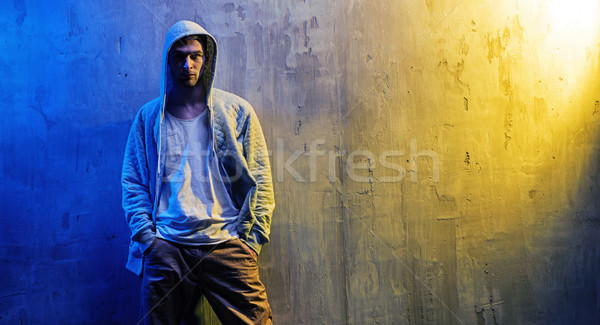Portrait of a serious hip-hop boy Stock photo © konradbak