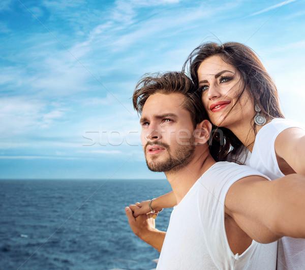 Romântico casal relaxante balsa mulher Foto stock © konradbak