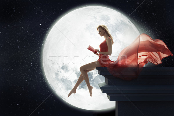 Cute donna luna piena signora cielo faccia Foto d'archivio © konradbak