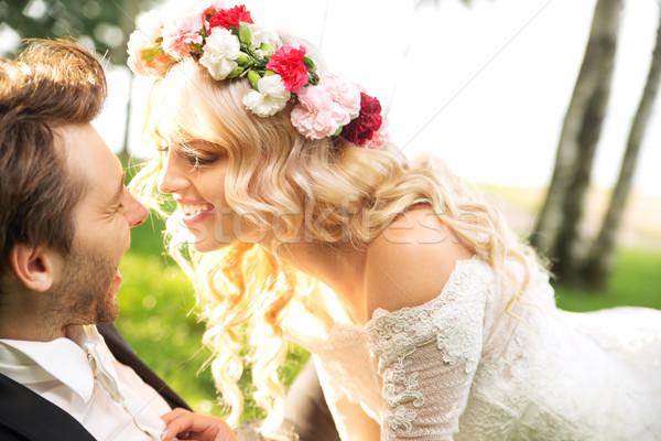 ストックフォト: 結婚 · カップル · 小さな · 空 · 笑顔 · 結婚式