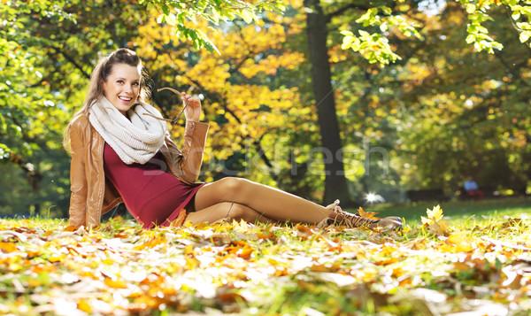 Beautiful pregnant lady on the golden ground Stock photo © konradbak