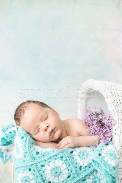 Aranyos gyermek alszik fuvar baba virág Stock fotó © konradbak