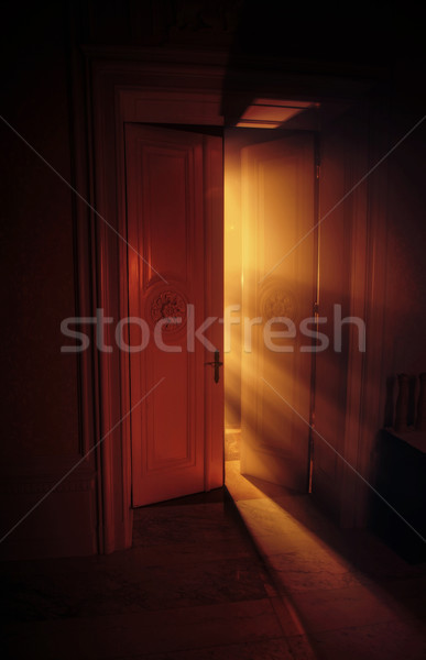 Heavenly rays of light behind the door Stock photo © konradbak