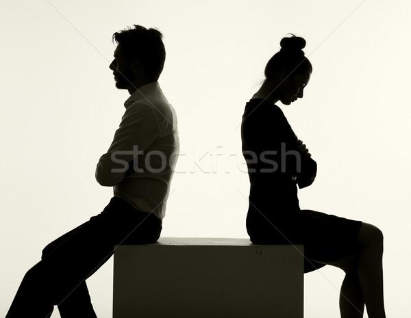 Smutne para argument poważny człowiek pokój Zdjęcia stock © konradbak