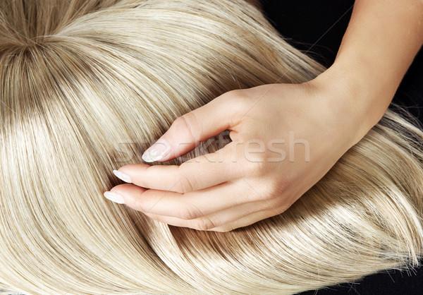 Düz sarışın peruk kadın doku saç Stok fotoğraf © konradbak