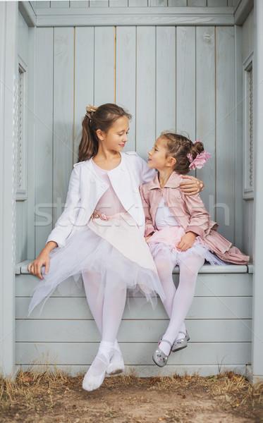 Two adorable sisters higging in the arbour Stock photo © konradbak