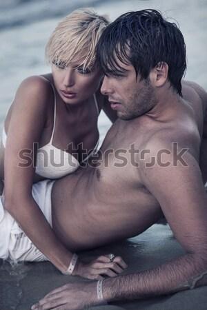 Blij man aanraken vrouw vent meisje Stockfoto © konradbak