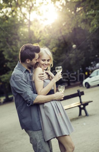 Férfi ölel barátnő csinos bor természet Stock fotó © konradbak