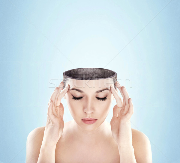 Conceptual image of a open minded woman , lots of copy space Stock photo © konradbak