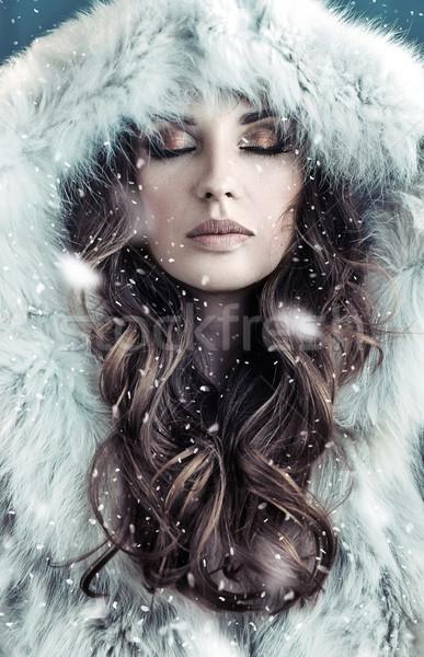 Stock fotó: Portré · barna · hajú · hölgy · visel · kapucnis · szőrmebunda