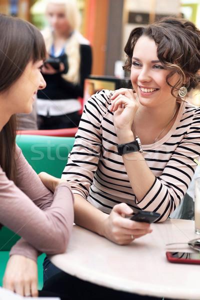 Zdjęcia stock: Dwa · piękna · dziewcząt · uśmiechnięty · żywności · szczęśliwy