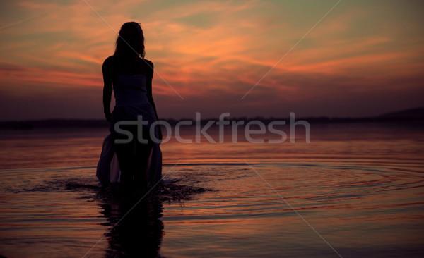 Silhouette of the water nymph Stock photo © konradbak