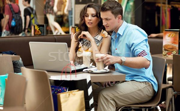 Jugendlichen arbeiten Mittagspause Liebe Glas Warenkorb Stock foto © konradbak